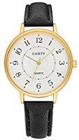 Gaiety Analog Quartz Women Watches Arabic Numerals Gold Tone G065 (Black)