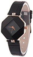 Wrist Watch W-life Fashion Rhinestone PU Leather Stainless Steel Analog Quartz Watch Black