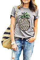 ZAWAPEMIA Women's Pineapple Printed Tops Funny Juniors T Shirt Short Sleeve Tees S Gray