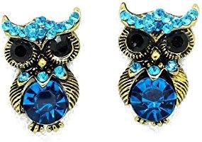 YAZILIND Jewelry Cute Personality Owl Blue Rhinestone Stud Earrings for Women